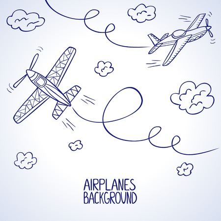 illustration doodle silhouette of two airplane among the clouds Vector