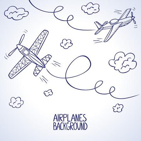 mosca caricatura: Silueta de ilustraci�n del doodle de dos avi�n entre las nubes Vectores