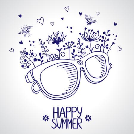 schets modieuze zonnebril met bloemen