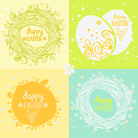 vector illustration design cards with Easter eggs and nest Иллюстрация
