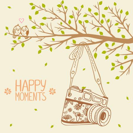 illustration retro camera hanging on a branch tree