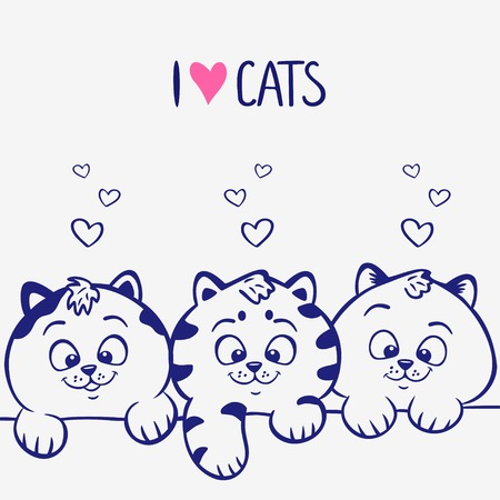 animal outline: illustration silhouette cute and funny three kittens