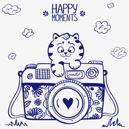 illustration sketch vintage retro photo camera with cute kitten Иллюстрация