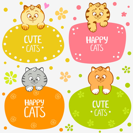 illustration cute and funny kittens set frame Vector
