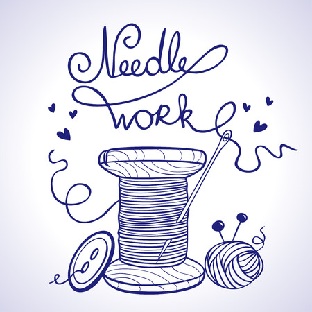 """kit de costura: Silueta de ilustración de carrete de hilo con una aguja y un botón y una palabra """"costura"""", hecha de los hilos Vectores"""