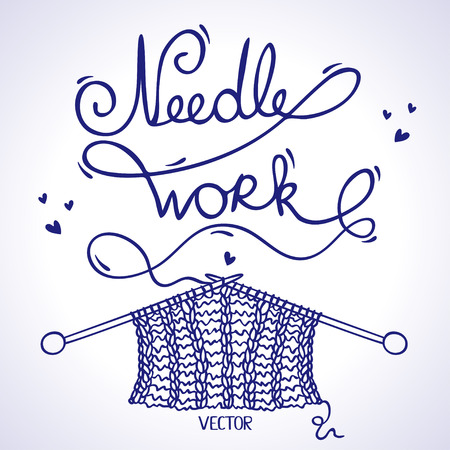 illustration silhouette knitting a word needlework of the thread Vector