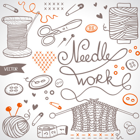 beautiful illustration doodle silhouette set subject for needlework Vector