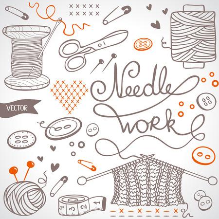 kit de costura: hermosa silueta de ilustración de bosquejo tema para la costura Vectores