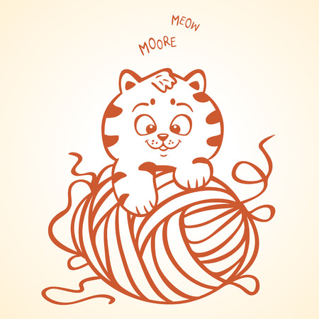 yarns: illustration silhouette cute and funny kitten with clew thread