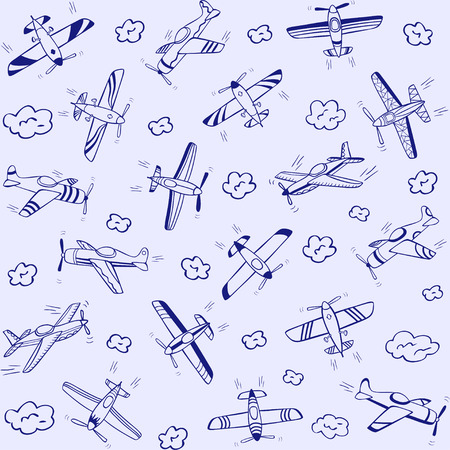 beautiful doodle background seamless pattern flying planes Vector