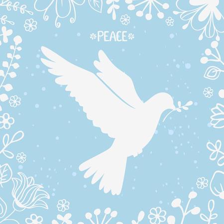 paloma de la paz: ilustración vectorial silueta hermosa paloma de la paz