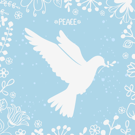 dove of peace: vector illustration silhouette beautiful dove of peace