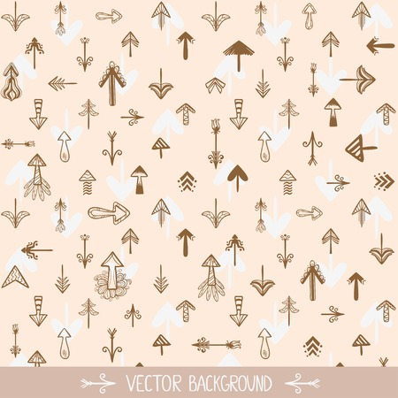 vector background seamless pattern silhouette doodle arrows Vector