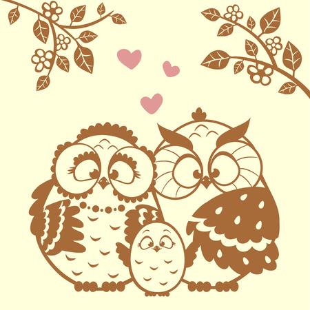 illustration silhouette cute cartoon family owls Vector