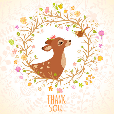 Stylish card with beautiful cartoon deer and sparrow