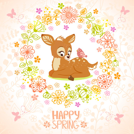 Stylish card with beautiful cartoon fawn and bird in floral frame Иллюстрация
