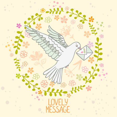carrier pigeons: Stylish card beautiful pigeon with letter in a flower wreath