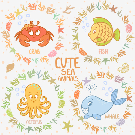 Beautiful card with cartoon cute fish, whale, octopus, and crab, in sea frame Vector