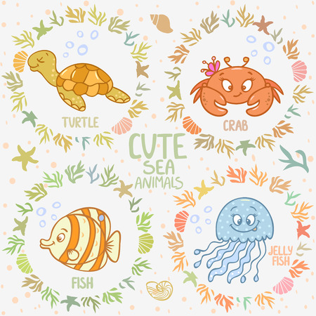 Beautiful card with cartoon cute fish, jellyfish, turtle, and crab, in sea frame Vector