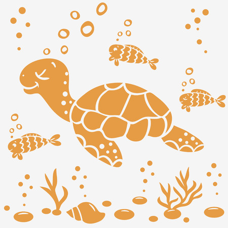 illustration silhouette cartoon cute and funny turtle and fish Vector