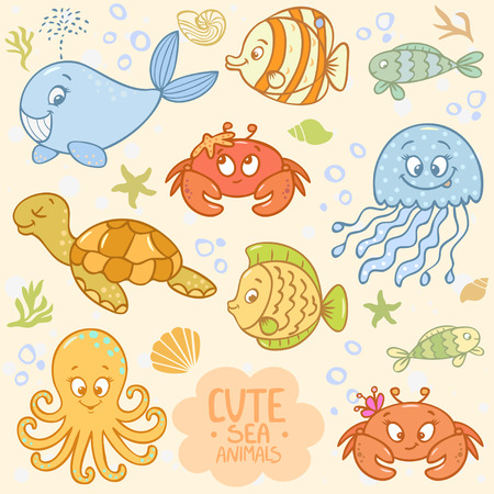 Beautiful collection with cute cartoon marine animals Vector