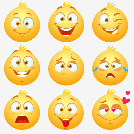 smily: Set of super funny and cute yellow expressive emoticons on white background
