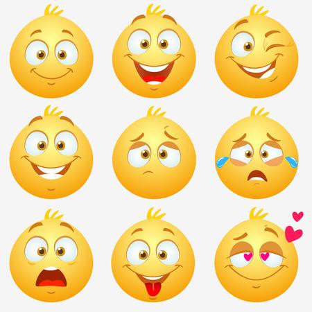 Set van gele super grappige en leuke expressieve emoticons op witte achtergrond