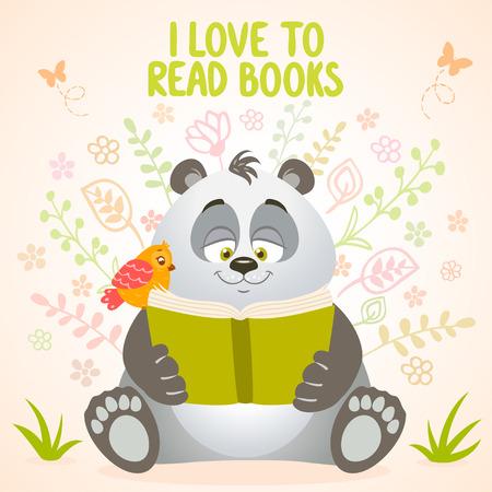 Beautiful and cute ?artoon panda with bird reads the book Vector