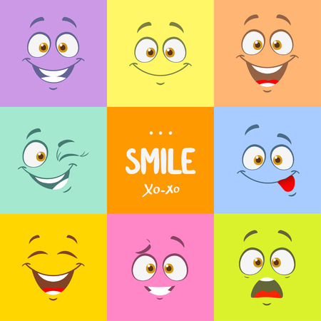 facial expression: Funny cartoon faces with emotions on bright colored background Illustration