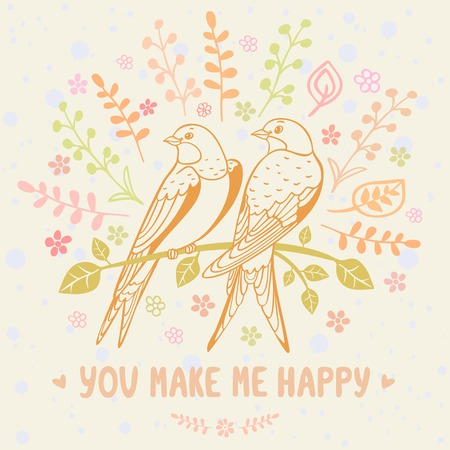 Stylish beautiful flowers card with cute swallows. Vector illustration Vector