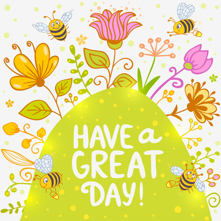 Stylish card with cartoon beautiful and funny bees and flowers with sample text Vector