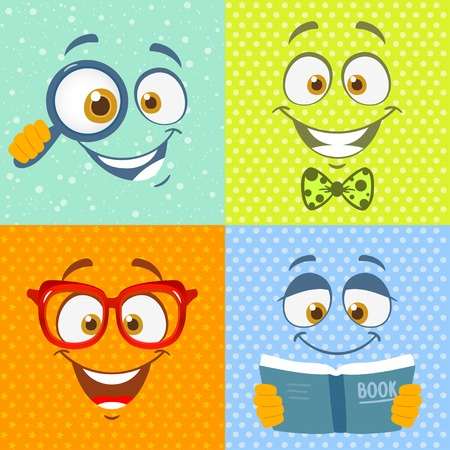Funny cartoon emotions faces on bright colored background