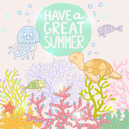 Beautiful and stylish background sea with cartoon cute fish, jellyfish and turtle Vector
