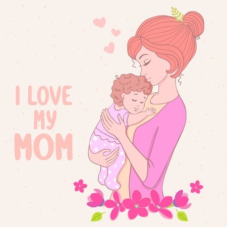 baby and mother: Stylish card with beautiful cartoon mother with baby in floral frame