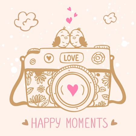 illustration sketch vintage retro camera with cute birds