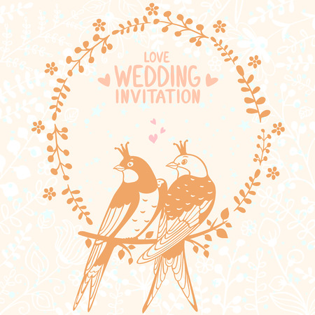 Stylish beautiful flowers card with cute silhouette swallows. Vector
