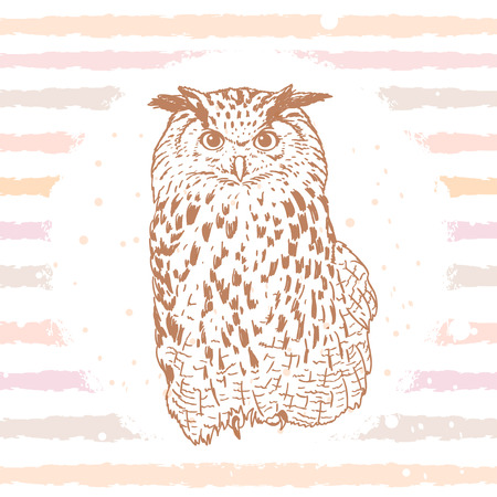 Beautiful silhouette owl hand drawn on striped background
