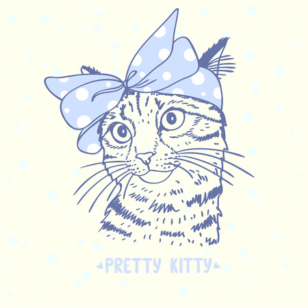 Beautiful silhouette hand drawn cute kitty with a bow on head Иллюстрация