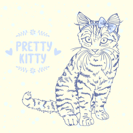 Beautiful silhouette hand drawn kitten with a bow on head