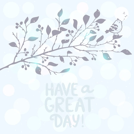 Silhouette beautiful tree branch with cute bird sings a song Vector