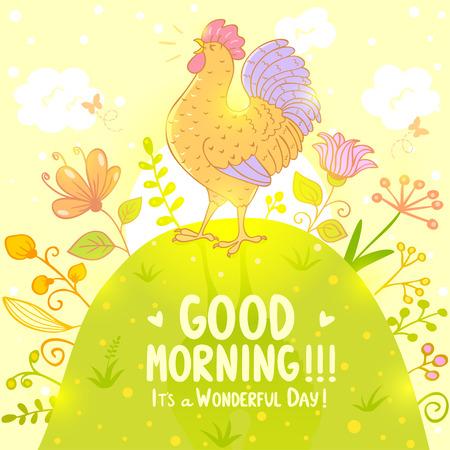 morning sky: Elegante illustrazione con una bella e dolce canto gallo