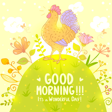 early morning: Stylish illustration with beautiful and sweet singing cockerel