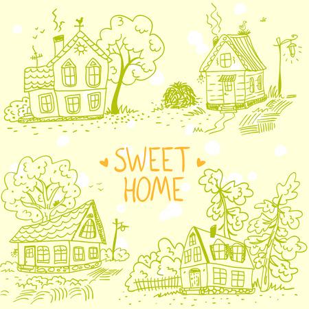 Beautiful illustration silhouette set sketch doodle houses Vector