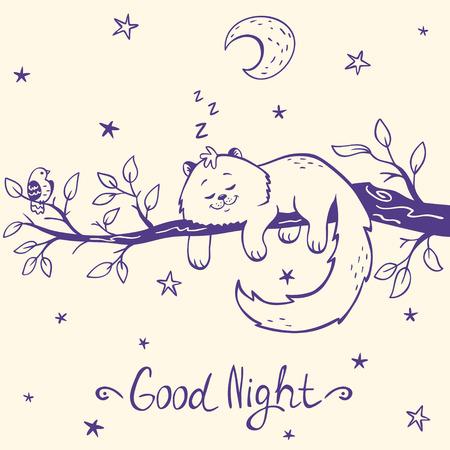 Cute and beautiful silhouette cartoon kitten sleeping on a branch