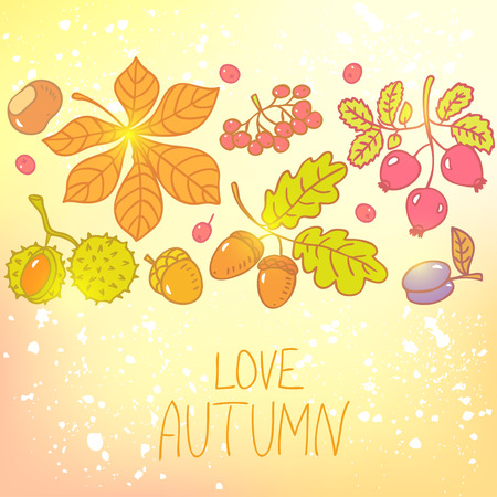 stylish card with beautiful of colorful autumn collection Vector