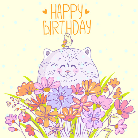 birthday flowers: Cute and beautiful cartoon cat with a bird. Stylish happy birthday card