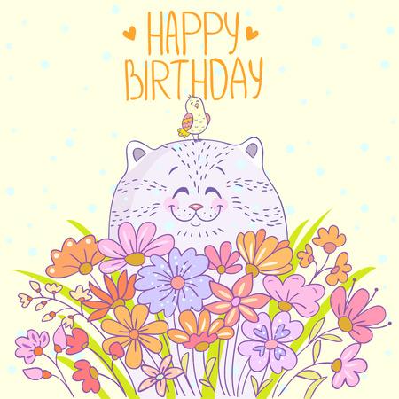 flores de cumpleaños: Gato de dibujos animados lindo y hermoso con un pájaro. Tarjeta de cumpleaños feliz con estilo Vectores