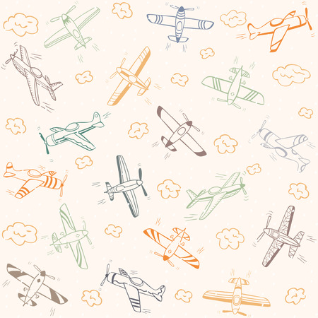beautiful doodle background seamless pattern flying retro planes Vector