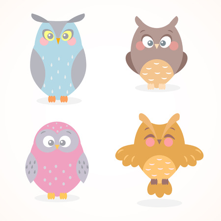 illustration collection of funny and cute flat owls Vector