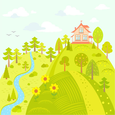 Stylish card with beautiful house on the hill in cartoon style Stock Illustratie